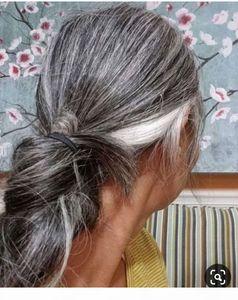 Salt and pepper silver grey HUMAN ponytail hair extension Long sleek grey human hair pony tail drawstring wraps 100g 120g 140g