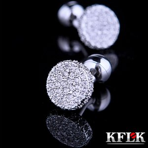 Kflk Jewelry Shirt Cufflinks for Mens Fashion Brand Crystal Cuff Link Wholesale Button High Quality Wedding Guests