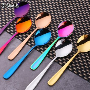 8 Pcs Set Dessert Spoon Tea Ice Cream Coffee Soup Spoon 18 10 Stainless Steel Rainbow Table Cutlery Dinnerware Flatware Z1202