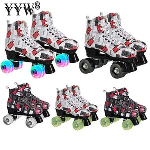 Letter Microfiber Roller Skates Double Line Skates Women Men Adult Two Line Skating Shoes With White Pu 4 Wheels Training Patins