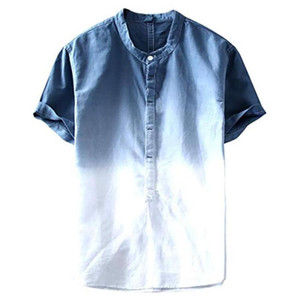 Men's Casual Shirt Summer Male Cool And Thin Breathable Collar Hanging Dyed Gradient Cotton Shirt O-Neck Single Breasted Blouse