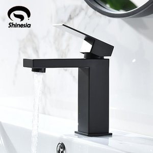 Shinesia Matte Black Basin Bathroom Faucet Vessel Sink Hot and Cold Water Mixer Tap Short and Tall Type Nordic Style