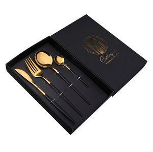 4 pieces   set of black cutlery set stainless steel cutlery golden kitchen cutlery fork knife spoon wedding silverware set