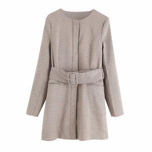 PUWD Vintage Mujer Long Houndstooth fajas Chaquetas 2021 Fashion Fashion Damas Outwear Thick Plaid Outwear Femenino Elegante Streetwear Abrigo Z1211
