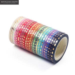 24Rolls Set Foil Slim Washi Tape Diy Decoration Scrapbooking Planner 3mm*5m Masking Tape Adhesive Tape Label Sticker Stationery T200229 2016