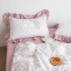 1pcs Princess Sweet Pink Cute Ruffles Floral Cotton Soft Pillowcase Pillow Inner Decor Washable