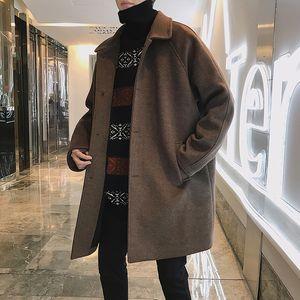 Winter windbreaker men's medium and long style extra thick casual wool loose Korean fashion ruffian handsome coat tide brand woolen coat