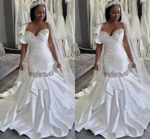 Plus Size Satin White Wedding Dress Ruffle Designer One Shoulder Beaded Crystal Mermaid Style Bridal Dress Open Back Womens Wedding Vestidos