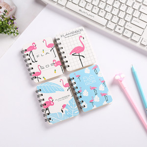 Korean Cute Flamingo Mini Cartoon Flip Coil Notebook Student Portable Flamingo Pocket Notepad Notebook