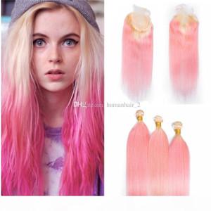 Бразильский Девы волос Straight Ombre волос 613 Pink Связки с Lace Closure Блондинки Розовый Ombre ткет волос с 4X4 Top Closure