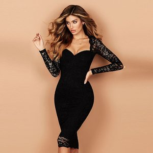 Spring Autumn Women Dresses Long Sleeve V Neck Lace High Waist Panelled Dress Fashion Casual Women Clothes