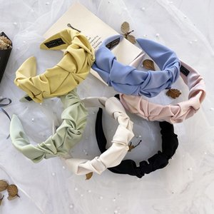 New Women Hair Accessories Wide Side Folds Flower Hairband Casual Soft Hair Hoop Top Quality Headband Wholesale