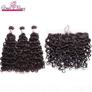 Greatremy Brazilian Water Wave Bundles With Lace Frontal 13x4 Water Wave Ear to Ear Lace Frontal Closure With Mink Brazilian Hair Extension
