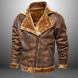 Marke Hohe Qualität Lederjacke Männer Winter Retro Fleece Wolle Dicke Jacken Herren Faux Leder Outwear Warme PU-Mäntel