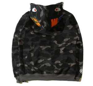 Neue Herren Designer Pullover Baden Affe Shark Head Camouflage Affe Affe Full Reißverschluss Jacke Windjacke Hoodie Hip-Hop Herren Designer