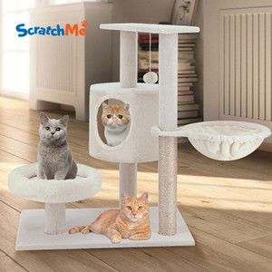 ScratchMe Cat Tree Tower with Hammock & Scratching Post Pet Play House with Toy