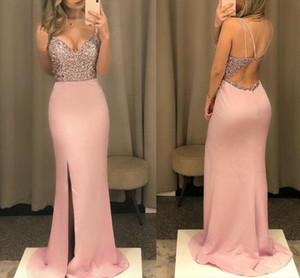 Senhora vestido longo vestido maxi noite vestido sempre bonito v pescoço peixe lantejoulas vestidos formais mulheres elegantes vestidos de festa rosa 2020