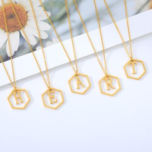 Hollow Hexagon Initial Letter Necklace for Women Stainless Steel Gold Chain A-Z Alphabet Pendants Necklaces Female Jewelry Gifts