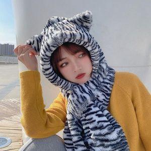Inverno 2 em 1 Cruz Cruz Scarf Beanie Chapéu Mulheres Zebra-listrado Bonito Urso Orelhas Fuzzy Plush Earflap Cap Windproof Neck Shawl