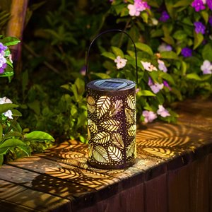 NEW Solar Lantern Lights Outdoor,Decoration Lamp ,Garden Hanging Lights Metal Leaf Pattern Lights Lamp for Patio,Outside or Table (Leaf.)