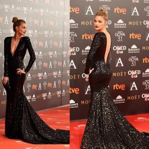 Deep V Neck Sexy Evening Dresses Open Back Black Sequined Long Sleeve Mermaid Prom Gowns Women Red Carpet Celebrity Dress
