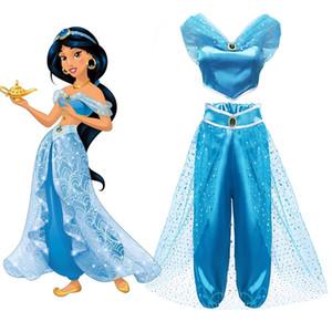 Yofeel Aladdins Lampe Jasmin Dress Up Kostüme für Mädchen Kind Cosplay Arabische indische Prinzessin Kostüm Kids Bauchtanzkleider Y200102