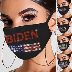 Maschera di cotone strass autunno e inverno personalità femminile stampa natale stampa nera sport flash diamante maschera antipolvere per Biden DHB3587