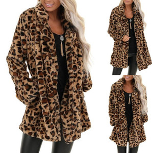 2021 New Womens Leopard Faux Fur Pocket Fuzzy Winter Invierno Overwear Overwear Abrigo largo Femenino Manga larga Outerwear Menteau Hiver