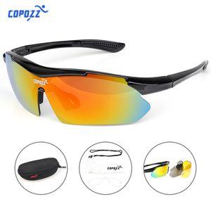 Copocoz Cycling Glass Bicycle Sports MTB Bike Gafas de sol para hombres Motocicleta Anti UV Protección Gafas 3 lentes Myopia Frame Q0119