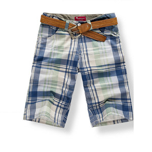 Mens Shorts Bottoms Knee Length 100% Cotton Beach Shorts Plaids Fashion Casual for Summer KWK222 X1116