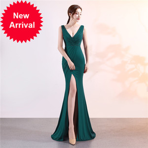2020 Elegant Prom Dress Satin dresses Long V Neck Sexy Slits Corset High Quality Evening Wear Formal Party Gowns