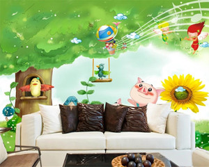 3d Wallpaper Scenery in Wall Stickers Beautiful and Fresh Children's Room HD Animal Background Wall 3d Photo Wallpaper Mural