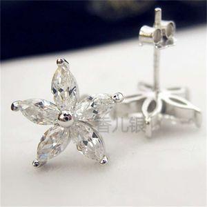 Luxurys 디자이너 패션 ED003 화이트 구리 도금 플래티넘 쥬얼리 5 포인트 클로버 쥬얼리 패션 다이아몬드 귀걸이 여성을위한