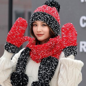 Three-piece Hats Scarf Gloves Set For Women's Hat Autumn Winter Warm Mitten Pompom Knitted Hat Gilr Knit Scarf Gift Fashion Sets