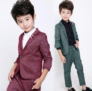 Boys performance clothing kids lapel long sleeve blazers outwear+elastic waist pants 2pcs sets Children gentleman Outfits A5169