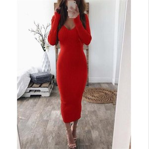 Sexy V Neck Women Dress Plus Size Long Sleeves Pencil Dresses Solid Color Skinny Mid Calf Length Autumn Ladies Dress