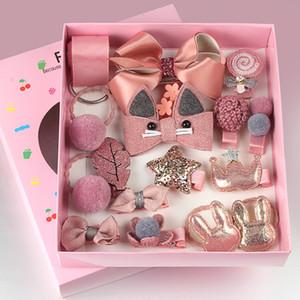 18 Pcs set Cute Accessories Girl cartoon clip headwear Bow Flower animal Hairpin Hair ring Elastic Headdress