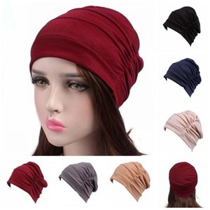 India Hat Muslim Women Fold Cap Hair Loss Cancer Chemo Cap Headscarf Night Pleated Turban Beanie Skullies Bandanas Bonnet