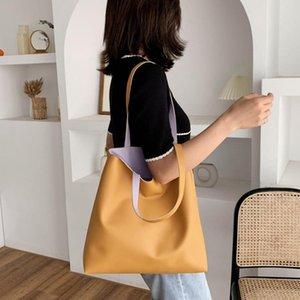 Smooza Kadınlar Omuz Çantaları Deri Rahat Tüm Maç Moda Katı Tote Çanta Kızlar Için DIY Çanta Çevre Dostu Alışveriş Çantası