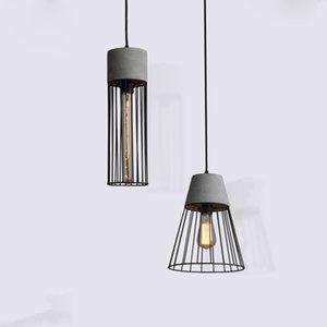 Modern Iron Hanging Cement Pendant Lamp Contemporary Concrete Black Caged Pendant Lights Wrought Iron Lighting Fixture Edison