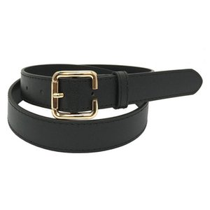 Hot New Design Belts Fashion Sexy Faux Leather Belt Punk Square Metal Buckle Alloy Hoop Jean Belt For Women Black Thin Waistband bbyjyE