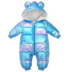 New Plus Velvet Jumpsuits Baby Winter Rompers Cartoon Hooded Shiny Waterproof Newborn Girls Snowsuit Toddler Boys Coat Clothes Z1118