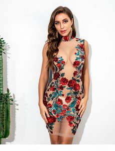 New Spring dresses for womens Women See-Through Dress Sexy Mesh Rose Embroidery Sequined Dresses Female Summer Bodycorn Dresses dress tops