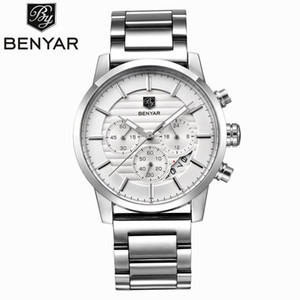 BENYAR Men's Watch Casual Fashion Brand Stainless Steel Strap Chronograph Calendar Quartz Watch Waterproof Men's Sports