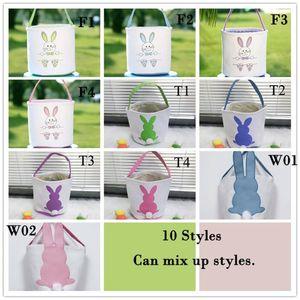 Easter Egg Storage Canestro Canvas Bunny Ear Secchio Creativo Borsa regalo di Pasqua con decorazione della coda di coniglio 8 stili
