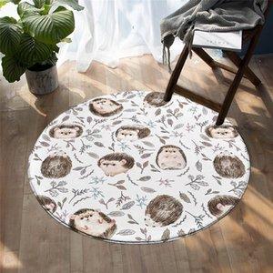 Beddingoutlet Hedgehog Enfants Jouer Tapis Aquarelle Feuille Chambre à Chambre à Chambre Cartoon Dessin animé Tapis Régie Cute Animal Animal Nat 100cm 201219
