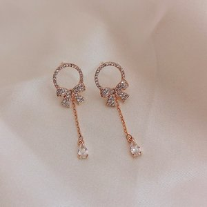 Lovely girl's earrings, crystal with red ribbon of Bola character, hypoallergenic earrings by 2020
