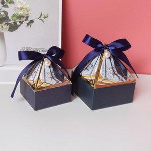 Lbsisi Life Diamond Forma Wedding Candy Candy Packaging Boxes Favor de cumpleaños Partido Sweet Sugar Mármol Caja de galletas de chocolate con cinta WMTUTE