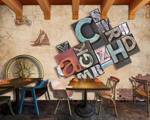 Freies verschiffen kreative benutzerdefinierte 3d foto wallpaper restaurant hotel dekorative muralweinlese nautical brief hintergrund wand