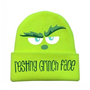 2020 Christmas Resting Grinch Face Game Beanie Cap With Words Pattern Printings Outdoor Riding Cycling Skiing Unisex Adults Knit Cosplay Hat